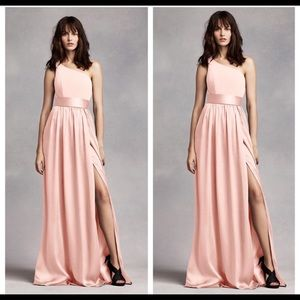 VERA WANG one shoulder blush bridesmaid dress